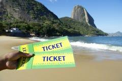 Билеты Бразилии на красном пляже Sugarloaf Рио-де-Жанейро Стоковое Изображение RF