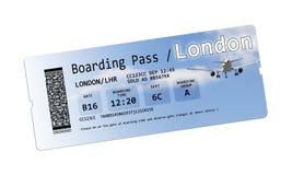 Билеты посадочного талона авиакомпании к Лондону изолировали на белизне Стоковое Изображение