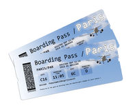 Билеты посадочного талона авиакомпании к Парижу на белизне Стоковое Фото