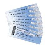 Билеты посадочного талона авиакомпании к самым важным итальянским городам - изображение концепции содержание изображения полность Стоковая Фотография RF