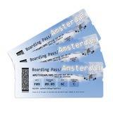 Билеты посадочного талона авиакомпании к Amstersam Стоковая Фотография