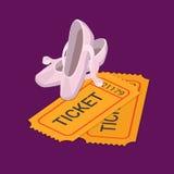 Билет выставки танца балета классический записывая плоский равновеликий вектор иллюстрация штока