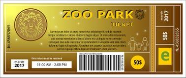 Билет зоопарка иллюстрация штока