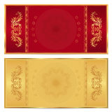 Билет золота, ваучер, подарочный купон, талон Стоковые Изображения