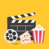 Билет пакета коробки попкорна нумератора с хлопушкой большого вьюрка кино открытый впускает одно Звезда 3 Комплект значка кино Же бесплатная иллюстрация