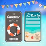 Билет партии пляжа лета на предпосылке моря Стоковые Изображения RF
