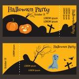 Билет для хеллоуин-партийного, который 2-встали на сторону, с частью разрыва- Стоковое Фото