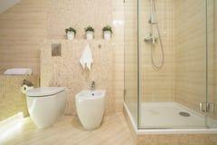 Биде, туалет и ливень Стоковые Фотографии RF
