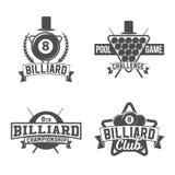 Биллиарды emblems ярлыки и конструированные элементы Стоковое фото RF