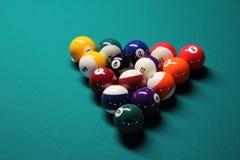 Бильярдный стол, шарики бассейна Стоковые Изображения