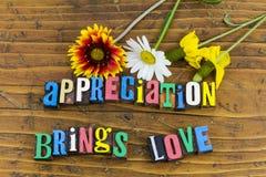 Благодарность приносит цветки влюбленности стоковая фотография rf