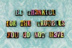 Благодарный признательный благословленный letterpress утехи тревоги стоковое фото