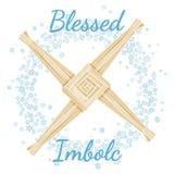 Благословленное начало Imbolc текста праздника весны языческого в венке снежинок с крестом Brigid o иллюстрация вектора