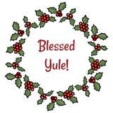 Благословленное приветствие венка ягоды падуба Yule Украшение праздника мультфильма вектора иллюстрация штока