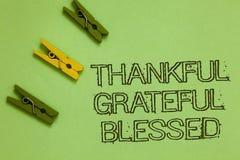 Благословленное признательное текста сочинительства слова благодарное Концепция дела для плана ориентации настроения признательно стоковые фотографии rf