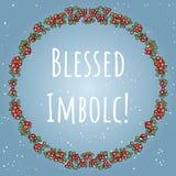 Благословленное Imbolc начало текста праздника весны языческого в венке красных ягод Шаблон карты вектора иллюстрация штока