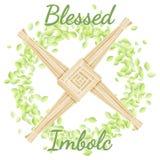 Благословленное Imbolc Начинать праздника весны языческого Крест Brigid в венке зеленых листьев иллюстрация штока
