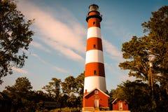 Благоустраивайте взгляд маяка на острове Вирджинии Assateague Стоковое фото RF