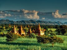 Благоустраивайте взгляд на зоне виска Bagan в Мьянме Стоковая Фотография