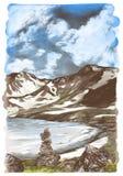 Благоустраивайте изображение гор снега и озера льда на предпосылке неба с облаками Стоковое Фото