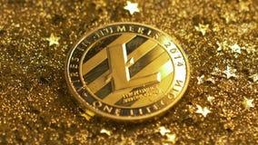 Блески макроса светлые на монетке сделанной одноранговой валютой