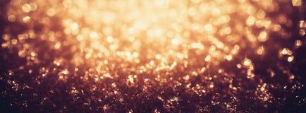 Блеск золота освещает замороженное bokeh снега Стоковое Изображение RF