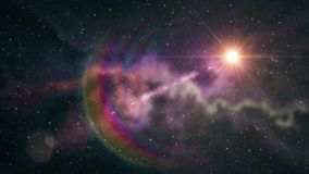 Блеск уединённой большой звезды мелькая в мягком moving межзвёздном облаке играет главные роли предпосылка анимации ночного неба