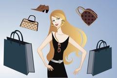 Блестящая девушка покупкы Стоковое Изображение RF