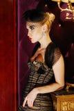 блестящий роскошный модельный портрет стоковое изображение rf
