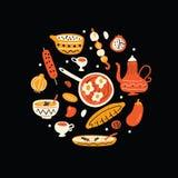 Ближневосточная еда Иллюстрация руки вычерченная в круге Традиционная концепция кухни вектор Черная предпосылка бесплатная иллюстрация