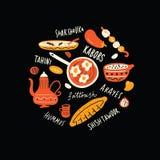 Ближневосточная еда Иллюстрация типографской руки вычерченные и имена блюд в круге Традиционная концепция кухни вектор иллюстрация вектора