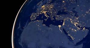 Ближний Восток, западная Азия, восточная Европа освещает во время ночи по мере того как оно выглядеть как от космоса Элементы это стоковые изображения rf