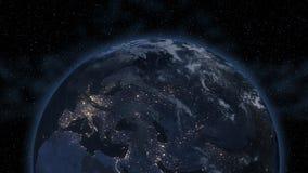 Ближний Восток, западная Азия, восточная Европа освещает во время ночи по мере того как оно выглядеть как от космоса Элементы это стоковое изображение