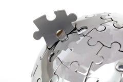 близкая головоломка металла глобуса вверх Стоковые Фотографии RF