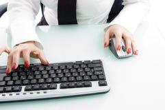 близкая клавиатура перста вверх Стоковая Фотография
