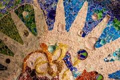 Близкая поднимающая вверх деталь покрашенной мозаики стоковое изображение