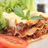 близкая часть lasagna вверх Стоковое Изображение RF