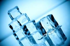 близкие кубики фокусируют льдед плавя отмелое поднимающее вверх стоковое фото