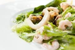 близкие продукты моря салата вверх Стоковое Изображение