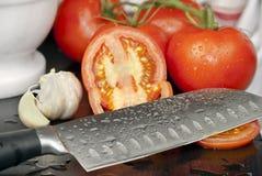 близкие свежие созретые томаты поднимают лозу Стоковое фото RF