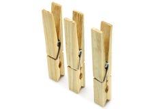 близкие clothespins 3 вверх Стоковые Фото