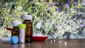 Близкий взгляд гомеопатической медицины состоя из таблеток в красных ложке и бутылке вещества жидкости и глобул с распространенно стоковое изображение rf