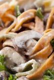близкий гриб fettucini вверх Стоковые Изображения