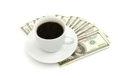 близкий доллар кофейной чашки вверх Стоковые Фото