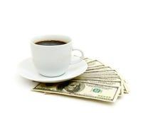 близкий доллар кофейной чашки вверх Стоковые Изображения
