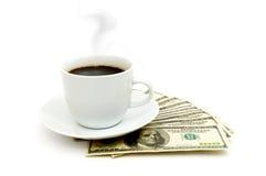 близкий доллар кофейной чашки вверх Стоковое Фото