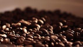 близкий кофе вверх макрос кофе завтрака фасолей идеально изолированный над белизной Солнечность на семенах кофе Темные зерна кофе акции видеоматериалы