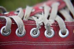 близкий красный ботинок вверх Стоковые Изображения RF