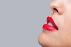 близкий красный цвет губ вверх Стоковые Изображения