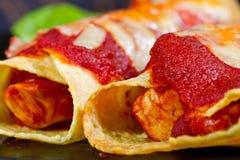 близкий мексиканец enchiladas вверх Стоковые Фотографии RF